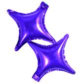 Balony foliowe gwiazdki fioletowe 2 sztuki czteroramienne Kolor - Fioletowy