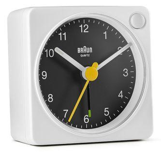 Braun BC02XWB Budzik analogowy, zasilany bateryjnie, alarm, drzemka, podświetlenie