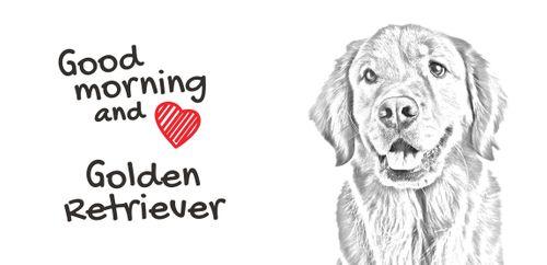 """Golden Retriever - kubek z wizerunkiem psa i napisem """"Good morning and love..."""". Wysokiej jakości kubek ceramiczny. na Arena.pl"""