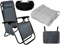 Fotel Ogrodowy Leżak Plażowy Trzypoziomowy Z Uchwytem+ Poduszka D445Z