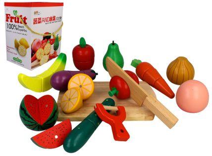 Zestaw drewniane warzywa i owoce do krojenia na magnes Z211