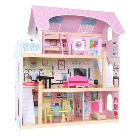 00Domek dla lalek – drewniany: Rezydencja Bajkowa zdjęcie 1