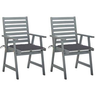 Lumarko Krzesła ogrodowe z poduszkami, 2 szt., lite drewno akacjowe