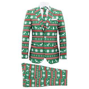 Lumarko Świąteczny garnitur męski z krawatem, 2-częściowy, 48, zielony