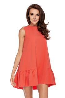 Sukienka o kroju litery A z falbanami i odkrytymi ramionami - Czerwony XL