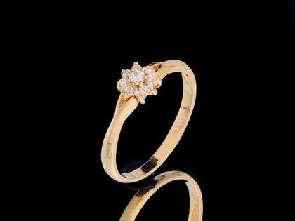 P445 Złoty pierścionek z cyrkoniami / ZARĘCZYNOWY 585