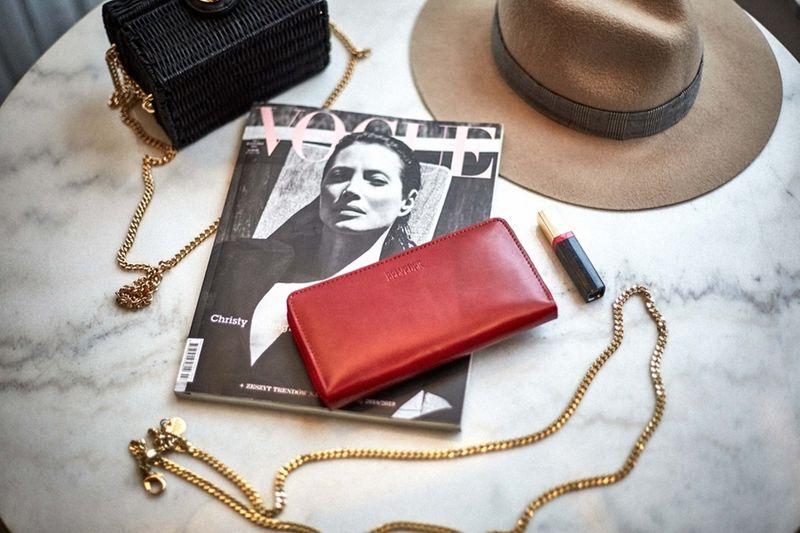 Czerwony damski portfel skóra naturalna BELVEDER w pudełku zdjęcie 6