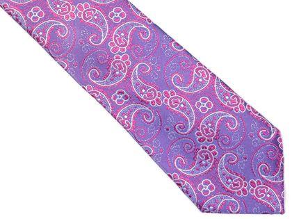 Fioletowy krawat męski w różowy paisley C17