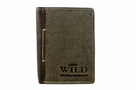 Pionowy mały portfel męski Always Wild ze skóry nubukowej - brąz