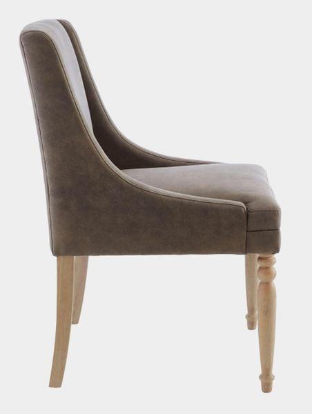 Brązowy fotel z toczonymi nogami zdjęcie 3