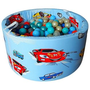 Suchy basen z kulkami 200 szt okrągły 90×40 cm – autka na niebieskim
