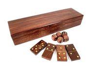 Zestaw gier - domino i kości w pudełku drewnianym WDD119/10 II gatunek