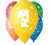 Balony z nadrukiem cyfra 1 - Roczek (5 szt) 30 cm