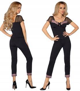 Piżama czarna koronka długie spodnie Dorothy L/XL