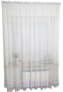 Firana prosta długa z gipiurą 240x400 cm Firanka balkonowa