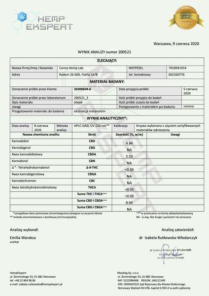 Olejek CBD Konopny 6% CBD 10ml Full Spectrum Certyfikowany na Arena.pl