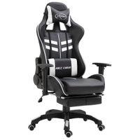 Fotel z podnóżkiem biały sztuczna skóra VidaXL