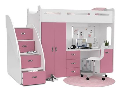 Łóżko piętrowe ZUZIA PLUS materace schodki biurko - róż