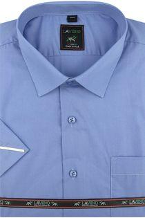 Koszula Męska Laviino gładka niebieska na krótki rękaw w kroju REGULAR K944 L 40 176/182