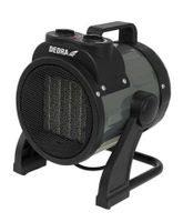 Nagrzewnica elektryczna DEDRA DED9922A 5000W przeznaczona do użytkowania w pomieszczeniach zamkniętych z regulacją kąta strumienia ciepłego powietrza