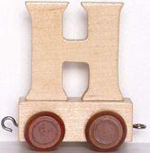 Wagonik z literką H - LITERKA element z układanki ALFABET POCIĄG