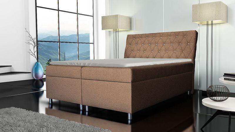 Łóżko tapicerowane kontynentalne 140x200 z materacem pojemnikiem zdjęcie 8