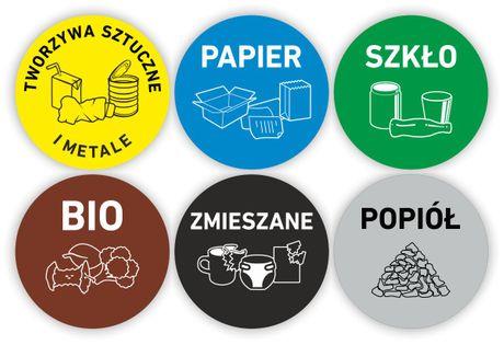 OKRĄGŁE NAKLEJKI NA KOSZ zestaw 6 szt. segregacja śmieci odpady 9 cm