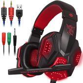 Słuchawki dla graczy gamingowe LED z mikrofonem Czerwone