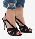 Czarne zamszowe sandały szpilki 9095-138 40