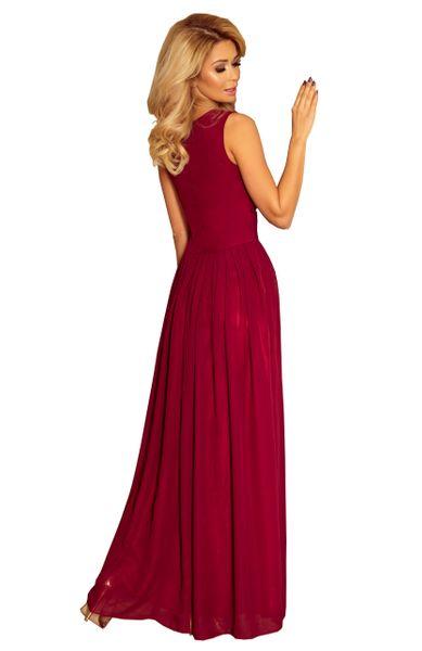 Sukienka Maxi Na Przyjęcie Wesele Bal Bordowa Na Ramiączka 166-3 L 40 zdjęcie 16