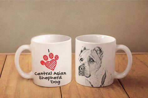 """Owczarek środkowoazjatycki - kubek z wizerunkiem psa i napisem """"I love..."""". Wysokiej jakości kubek ceramiczny."""