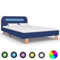 Rama łóżka z LED, niebieska, tapicerowana tkaniną, 120 x 200 cm