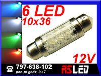 żarówka 6 LED rurkowa 10x36 mm c5w wnętrza 36 mm 12v KOLORY