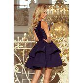 LAURA podwójnie rozkloszowana sukienka z koronkową górą - GRANATOWA XL zdjęcie 4