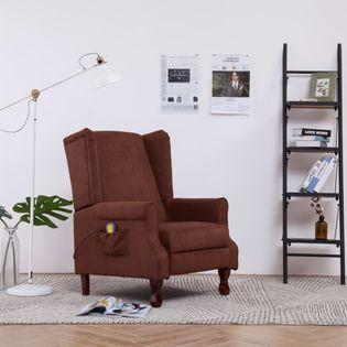 Elektryczny Fotel Z Masażem, Rozkładany, Brązowy, Tkanina