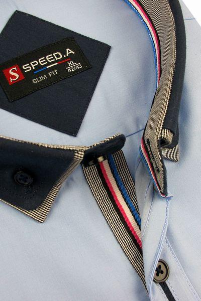 Koszula Męska Speed.A gładka błękitna SLIM FIT z podwójnym kołnierzykiem na krótki rękaw  K637 L 41 176/182 zdjęcie 3