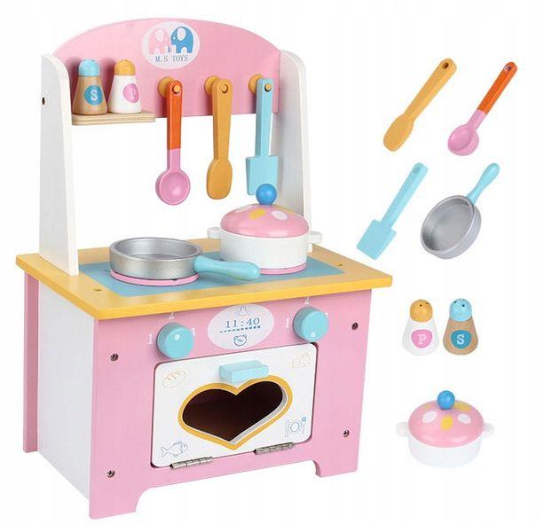 Kuchnia Drewniana Dla Dzieci Garnki Akcesoria Owoce Magnetyczne U46U zdjęcie 3