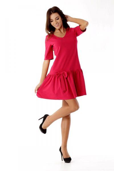 4d36712c95 Sukienka z falbaną i kokardą ED05 1 Malina Ella Dora Rozmiar - 40 zdjęcie 2