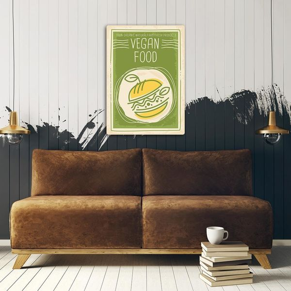 Wydruk na metalu, Retro – wegańskie jedzenie 40x60 zdjęcie 3
