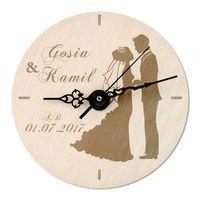 Zegar DREWNIANY nowożeńców ŚLUB PREZENT URODZINY