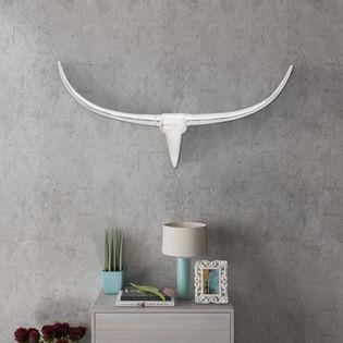 Lumarko Srebrna ozdoba ściany bycze rogi z aluminium 96 cm