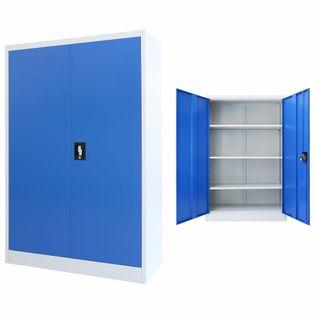 Szafa biurowa, metalowa, 90 x 40 x 140 cm, szaro-niebieska