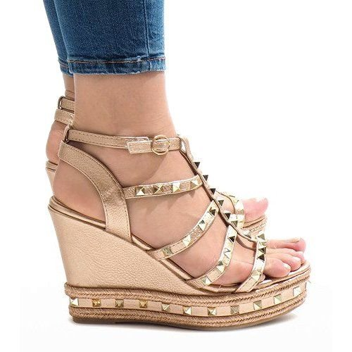 Miedziane sandały koturny VS 368