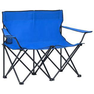 Lumarko 2-os., składane krzesło turystyczne, stal i tkanina, niebieskie!