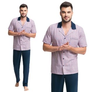 Piżama męska LUNA kod 770 bordowa [M]