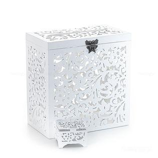 Pudełko na koperty + pudełko obrączki. Biały zestaw.