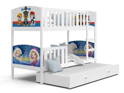 Łóżko piętrowe TAMI 3 200x90  szuflada + materace WZORY
