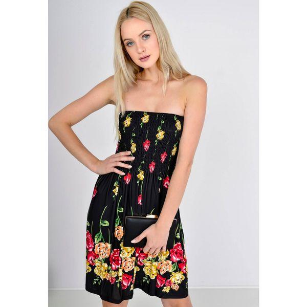 971de27796 Sukienka w kwiaty bez ramiączek marszczony dekolt MODNA NOWOŚĆ zdjęcie 1