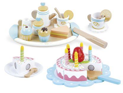 Drewniany zestaw do przygotowania herbaty + urodzinowy tort
