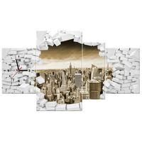 ZEGAR  Ściana z widokiem na miasto w sepii 120x70